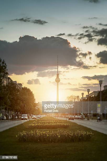 Berlin cityscape at sunset with tv tower