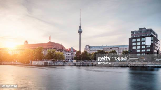 Berlin cityscape, spree river and tv tower