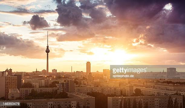 Berlin cityscape sunset