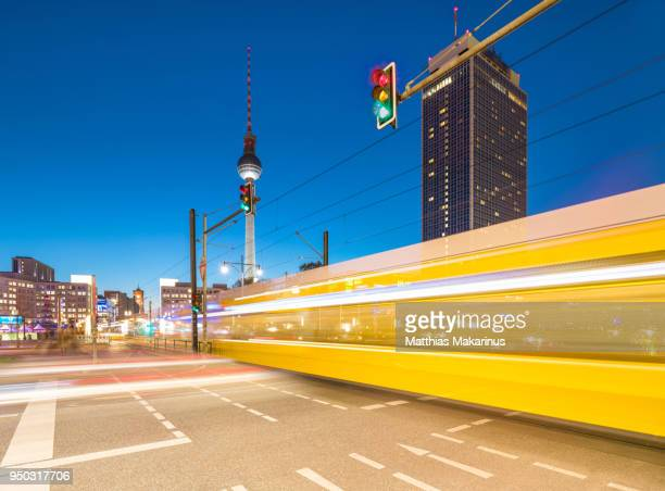 berlin cityscape traffic lights - tram stock pictures, royalty-free photos & images