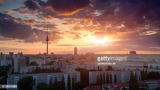 Berlin cityscape with amazing sunset