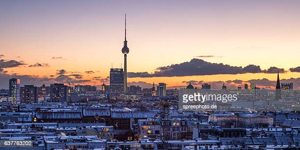 Berlin cityscape with snow on the roofs