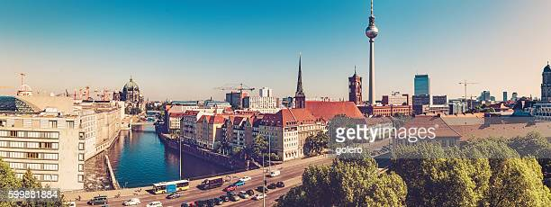 berlin cityscape with television tower at sunny day - central berlin stock photos and pictures