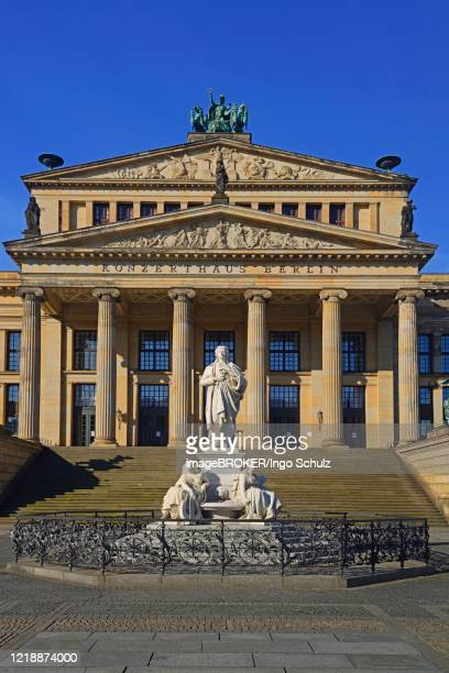 berlin concert hall with schiller monument at gendarmenmarkt, berlin-mitte, berlin, germany - konzerthaus berlin stock pictures, royalty-free photos & images