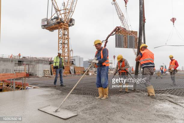 Construction workers concreting a slab on the construction site of the new Axel Springer building. Photo: Carsten Koall/dpa