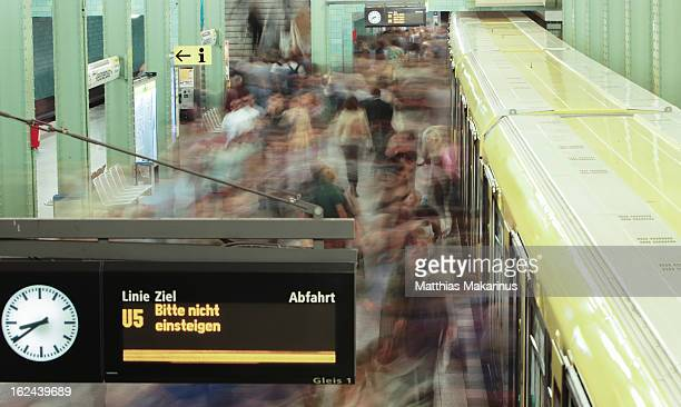 Berlin Dynamic Underground Train called UBahn with blurred People