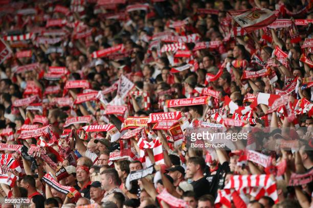 Berlin fans are seen prior to the Second Bundesliga match between 1. FC Union Berlin and Hansa Rostock at the stadium An der Alten Foersterei on...