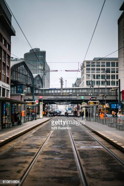 berlin friedrichstrasse railroad station - central berlin stock photos and pictures