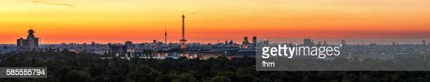 Berlin - full skyline panorama at sunrise with TV-Tower and Radiotower