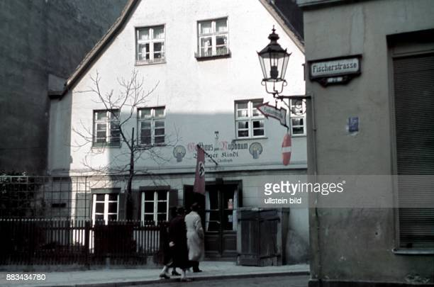Berlin Gasthaus zum Nussbaum restaurant and pub with swastika flag