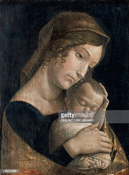 Berlin Gemäldegalerie Madonna and Sleeping Child 14651470 by Andrea Mantegna glue tempera on linen 43x32 cm