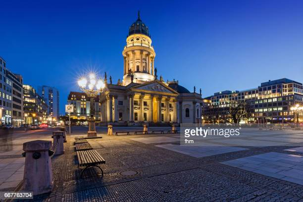 "berlin gendarmenmarkt with the ""deutsche dom"" at a nice blue hour - gendarmenmarkt stock pictures, royalty-free photos & images"