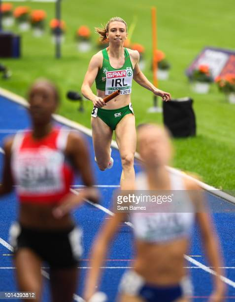 Berlin Germany 10 August 2018 Claire Mooney of Ireland competing in the Women's 4x400m relay event during Day 4 of the 2018 European Athletics...