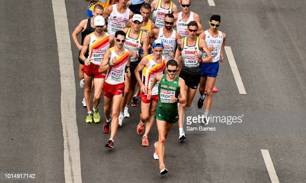 Berlin Germany 11 August 2018 Alex Wright of Ireland leads the field whilst competing in the Men's 20km Walk event during Day 5 of the 2018 European...