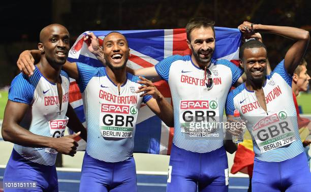 Berlin Germany 11 August 2018 The Great Britain Men's 4x400m Relay team celebrate after winning a silver medal during Day 5 of the 2018 European...