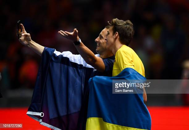 Berlin Germany 12 August 2018 Armand Duplantis of Sweden right and by Renaud Lavillenie of France take a selfie after competing in the Men's...