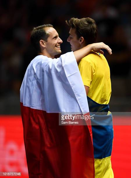 Berlin Germany 12 August 2018 Armand Duplantis of Sweden right is congratulated by Renaud Lavillenie of France after winning the Men's polevault...