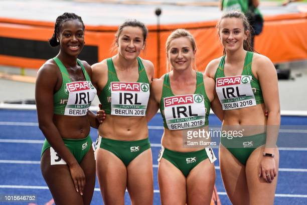 Berlin Germany 12 August 2018 Athletes from left Gina AkpeMoses Phil Healy Joan Healy and Ciara Neville of Ireland after competing in the Women's...