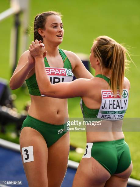 Berlin Germany 12 August 2018 Ciara Neville left and Joan Healy of Ireland after competing in the Women's 4x100m Relay event during Day 6 of the 2018...