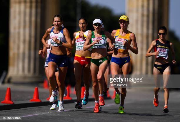 Berlin Germany 12 August 2018 Lizzie Lee of Ireland passes the Brandenburg Gate whilst competing in the Women's Marathon event during Day 6 of the...