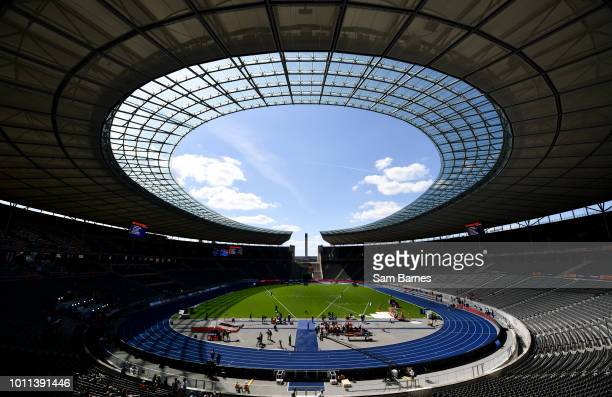Berlin Germany 5 August 2018 A general view of the Olympic Stadium prior to the official opening of the 2018 European Athletics Championships in...