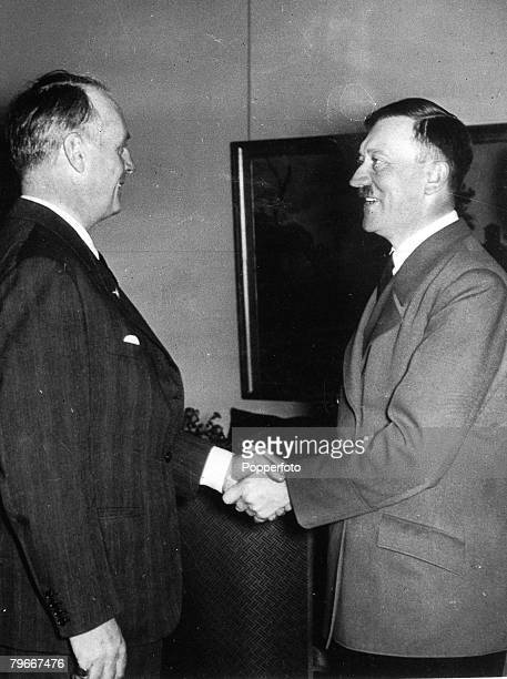 Berlin Germany 6th October Nazi German Foreign minister Joachim Von Ribbentrop receiving the congratulations of leader Adolf Hitler after reporting...