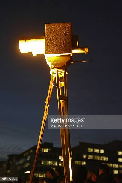 A giant mockup of the 'Goldene Kamera' award stands besides the red carpet in front of the Axel Springer publishing house 01 February 2007 in Berlin...