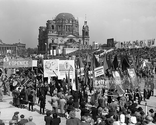 5/1/1951 Berlin Germany A scene from yesterday's May Day rally staged in the Sovietcontrolled sector of the city The most telling difference between...