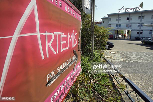 A sign directs motorists to Berlin's Artemis brothel 04 May 2006 Artemis the largest brothel in Berlin boasts 4 storeys 70 rooms 3 saunas 2 small...