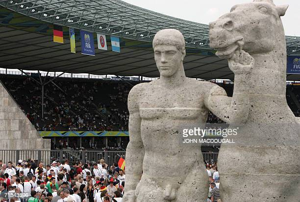 Statue is pictured before the quarter-final World Cup football match between Germany and Argentina at Berlin's Olympic Stadium, 30 June 2006. Germany...