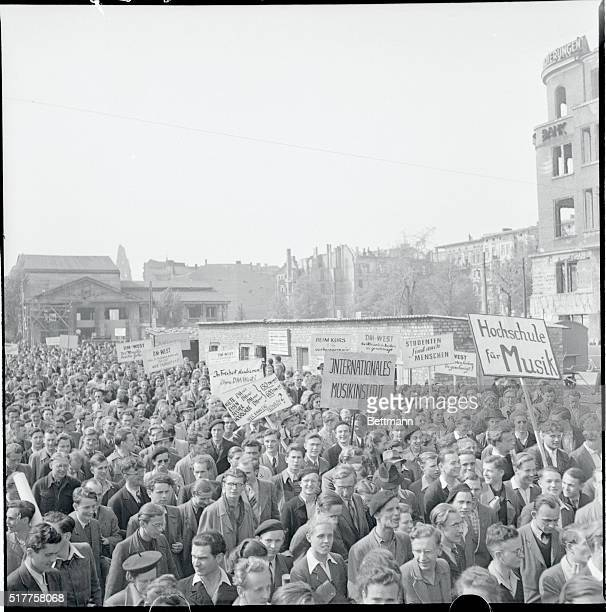 Berlin, Germany: Berlin Students Demonstration. Caught in the currency struggle between East and West Germany, these demonstrating Berlin Students...