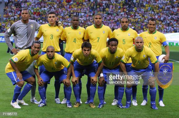 Brazilan team picture goalkeeper Dida defender Lucio defender Juan forward Adriano midfielder Emerson and defender Cafu midfielder Ronaldinho...