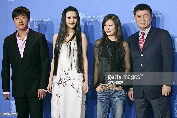 Chinese actors Tong DaWei and Fan BingBing Chinese director Li Yu and Chinese producer Fang Li pose during a photocall for their film Ping Guo Lost...