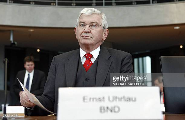 Ernst Uhrlau president of the German intelligence agency the Bundesnachrichtendienst waits to give evidence at a hearing of the parliamentary...