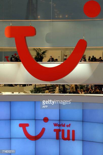 """Picture taken 09 March 2006 shows the logo of Europe's leading travel group TUI at the company's booth on the """"Internationale Tourismus Boerse"""" fair..."""
