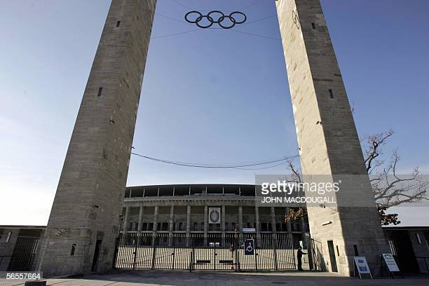 FILES View of the main gates of Berlin's Olympic Stadium 09 November 2005 The stadium specially built for the 1936 Olympic Games was renovated at a...