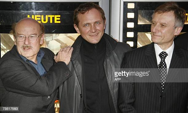 German director Volker Schloendorff Polish actor Andrzej Chyra and Poland's ambassador Marek Prawda pose during the German Premiere of the film...