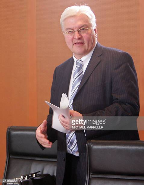 German Foreign Minister FrankWalter Steinmeier waits for the beginning of a cabinet's meeting 31 January 2007 at the Chancellery in Berlin Steinmeier...