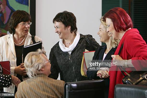German ministers, all the women of the government, Health minister Ulla Schmidt , Education and Research minister Annette Schavan , Justice minister...