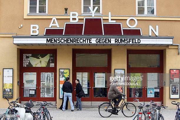 'Human Rights Against Rumsfeld' is written on the marquee of the Babylon cinema where a press conference by an international lawyers' grouping is...