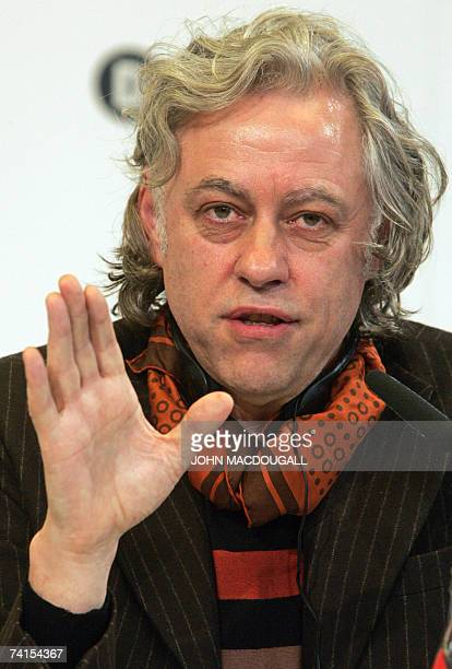 Irish political activist Bob Geldof addresses a press conference following the release of the DATA report 2007 15 May 2007 in Berlin Geldof and Irish...