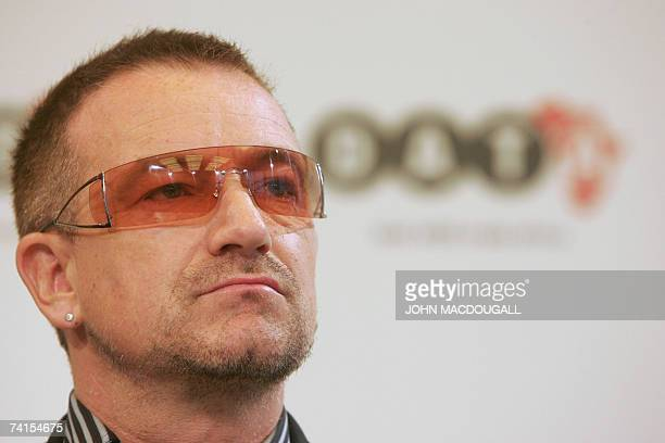 Irish pop band U2 frontman Bono addresses a press conference following the release of the DATA report 2007 15 May 2007 in Berlin Bono and Irish rock...