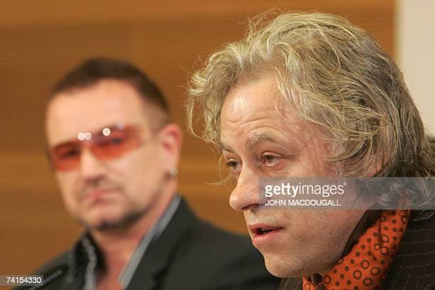 Irish pop band U2 frontman Bono and Irish political activist Bob Geldof address a press conference following the release of the DATA report 2007 15...
