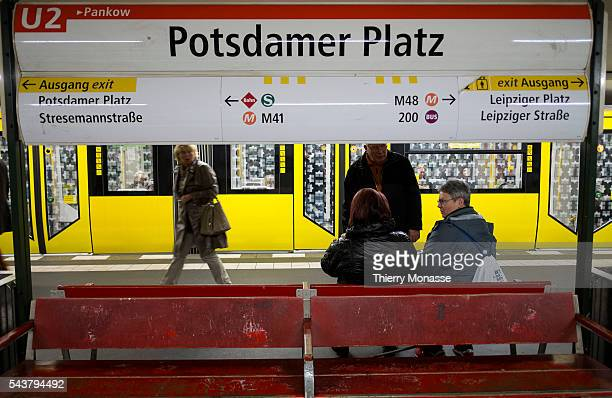Berlin Germany October 18 2013 People are waiting for the UBahn in Potsdamer Platz Station UBahn is a rapid transit railway from Berliner...