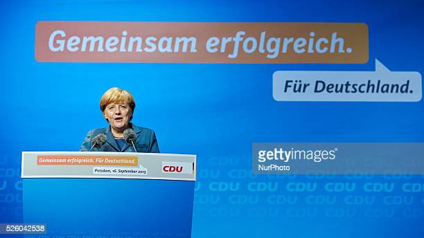 Berlin Germany September 16th 2013 Within the election campaign program 2013 Angela Merkel German Chancellor and Top canditate of the CDU visits...