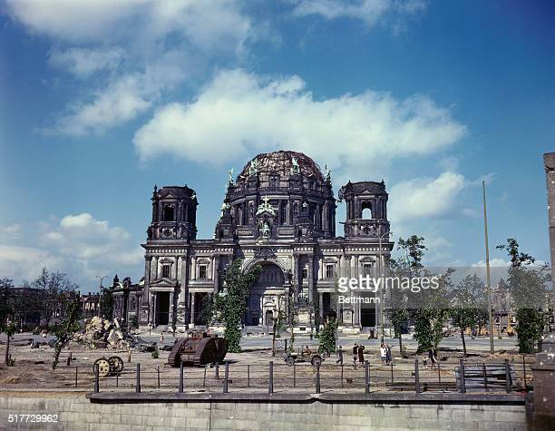 Berlin, Germany: Tank stands outside ruins outside ruins of the Dome Cathedral.