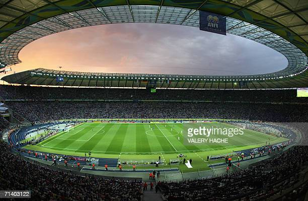 The sun sets during the World Cup 2006 final football match between Italy and France at Berlins Olympic Stadium 09 July 2006 AFP PHOTO/VALERY HACHE
