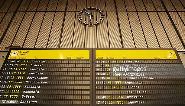 View of a schedule board at Berlin's Tempelhof airport 09 November 2006. The airport, originally built in 1923, was redeveloped under Nazi rule into...