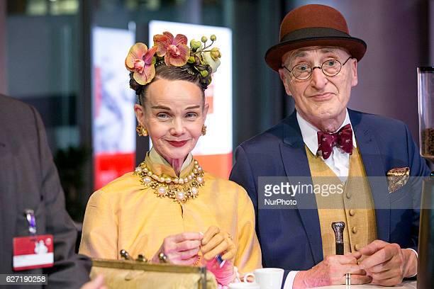 Berlin Hipsters Britt Kanja and Gunther Krabbenhoftt attend the presentation of the Michelin Guide Germany 2017 in Berlin Germany on Dezember 1 2016