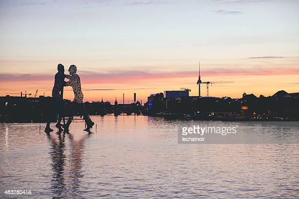 berlin in sunset - spree river stock pictures, royalty-free photos & images